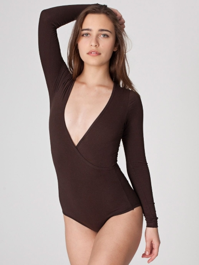American Apparel Cotton Spandex Jersey Cross-V Bodysuit